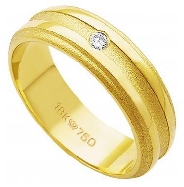Aliança Ouro 18K  com 1 Pedra de Brilhante C731