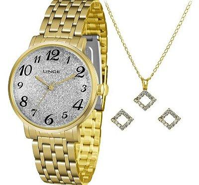 Kit Relógio Lince Feminino Shine Analógico Dourado LRG614L-KX95S2KX