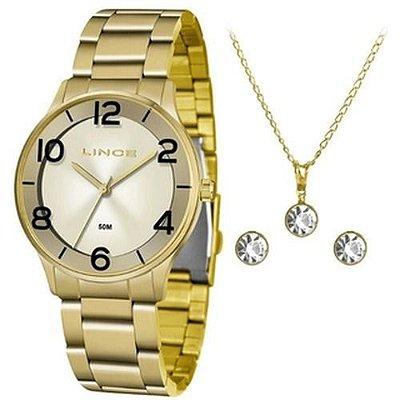 Relógio analógico feminino Lince LRG4603L KW21 Dourado