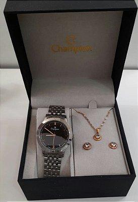 Relógio Feminino Champion Glamour Prata com Semi Joias CH21985D