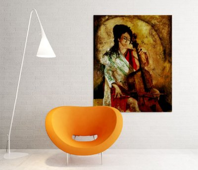Quadro Decorativo Tela Praise w strings 100 x 80 cm