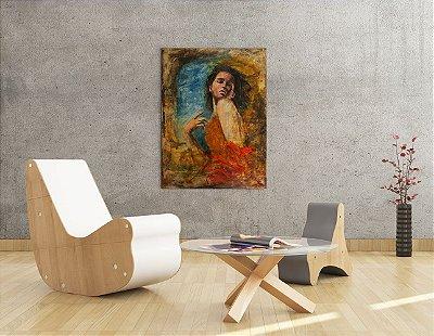 Quadro Decorativo Tela Mulher Apaixonada 100 x 80 cm