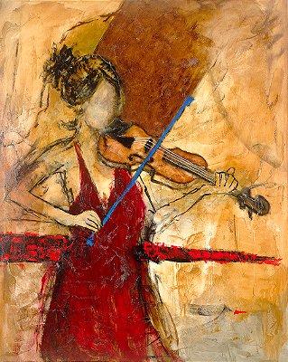 Arte Contemporânea Tela First Viola 80 x 60 cm