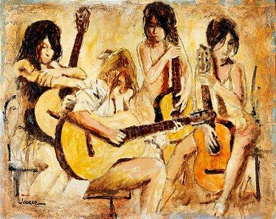 Arte Contemporânea Tela Four Guitars 60 x 80 cm