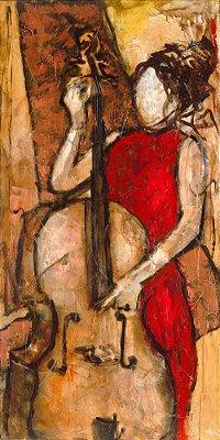 Arte Contemporânea Tela Ingrid 80 x 40 cm
