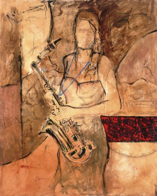Arte Contemporânea Tela New Sax 80 x 60 cm