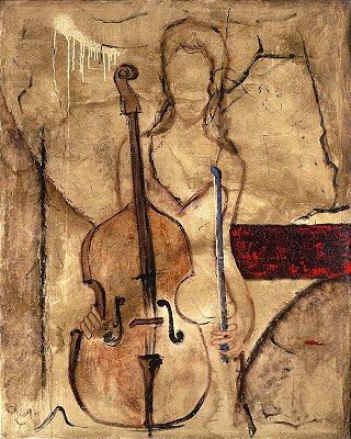 Arte Contemporânea Tela Principal Cello 80 x 60 cm
