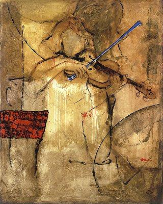 Arte Contemporânea Tela Violinista 80 x 60 cm