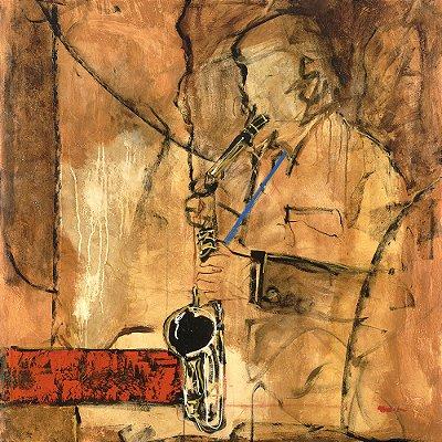 Gravura Coleção Música 30 x 30 cm Saxofonist