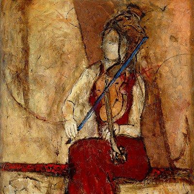 Gravura Coleção Música 30 x 30 cm Violin for One