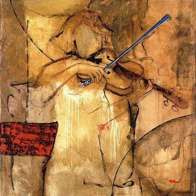 Gravura Coleção Música 30 x 30 cm Violinista