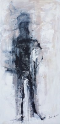 Obra Original Pintura sobre Tela, Penso Logo Existo, Acrílica, 200 x 100 cm