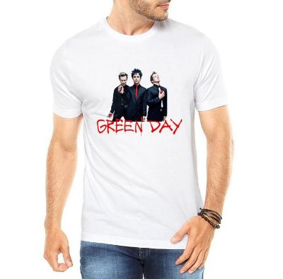 Camiseta Green Day Masculina Branca