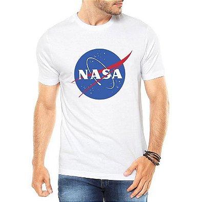 Camiseta Nasa Masculina Cinza Branca
