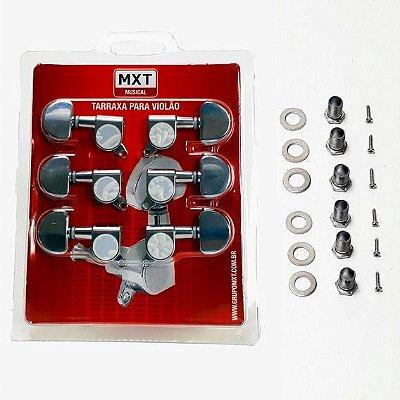 Tarraxa Violão Aço Blindada MXT 3+3 Prata