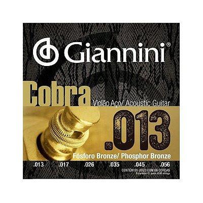 Encordoamento Violão Aço .013 Giannini Cobra GEEFLXF