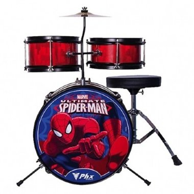 Bateria Acústica Infantil Phoenix Disney Marvel Spider Man 3 Vermelha BIM S2