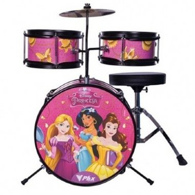 Bateria Acústica Infantil Phoenix Disney Princesas Rosa BID-P2