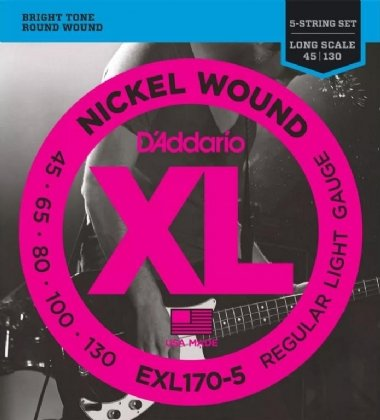 Encordoamento Contrabaixo 5 Cordas .045 D'Addario Regular Light EXL170-5