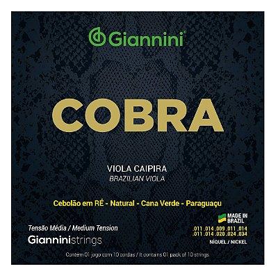 Encordoamento Viola Caipira .011 Giannini Tensão Média Ré GESVNM