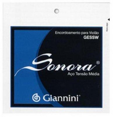 Encordoamento Violão Aço Tensão Média Giannini Sonora GESSW