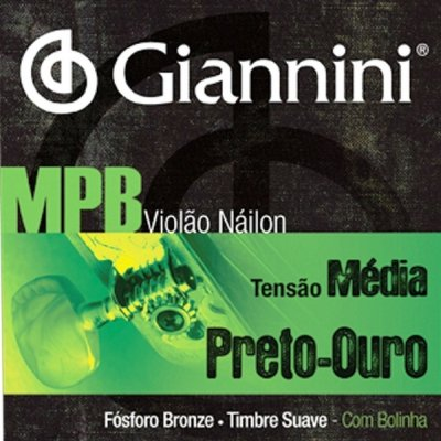 Encordoamento Violão Nylon Giannini MPB Preto/Ouro .028 GENWBG