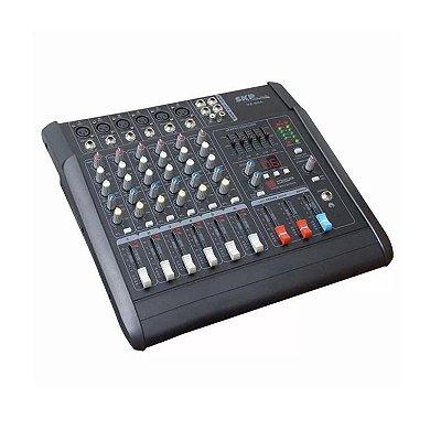 Mesa de Som 06 Canais SKP Pro Audio Amplificada VZ60A 500W