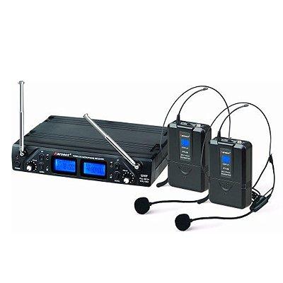 Microfone Headset Sem Fio Duplo Karsect KRU362