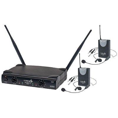 Microfone Headset e Lapela Sem Fio Duplo Lyco UH02 HLI/HLI