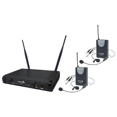Microfone Headset Sem Fio Duplo Lyco UH06 HLI/HLI