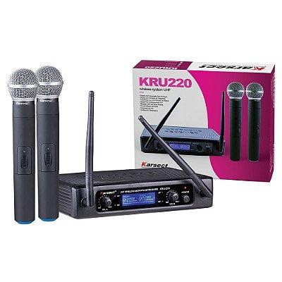 Microfone sem Fio de Mão Duplo Karsect UHF KRU220M