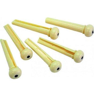 Pino Plástico para Violão Cordas de Aço Bege Zad Som (6 unids)