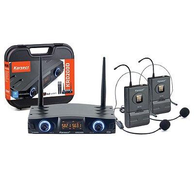 Microfone Headset Sem Fio Duplo Karsect KRD200D KLT16/HT9A