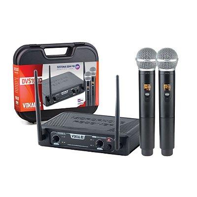 Microfone sem Fio de Mão Duplo Vokal DVS100D