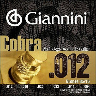 Encordoamento Violão Aço .012 Giannini Cobra GEEFLKS