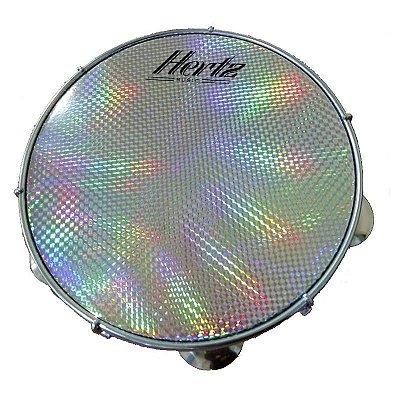 """Pandeiro 10"""" Hertz Plástico Preto Pele Holográfica"""