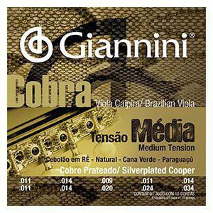 Encordoamento Viola Caipira .011 Giannini Tensão Média RE GESVM