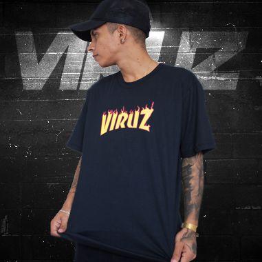 Camisa Viruz (Fogo) - Preta