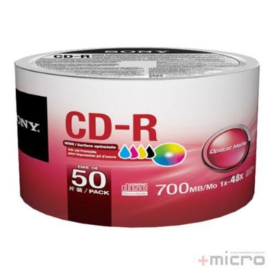 CD-R printable Sony 700 Mb 48x - Tubo com 50 unidades (50CDQ80FB)