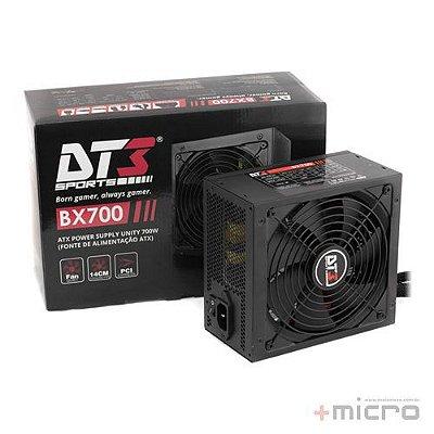 Fonte de alimentação ATX 700W reais 80Plus BRONZE DT3 Sports BX700