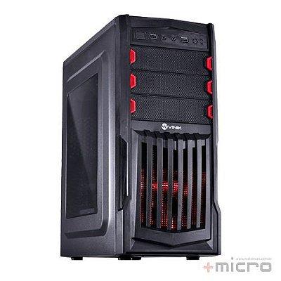 Gabinete gamer VX Vinik Thunder V2 preto led vermelho