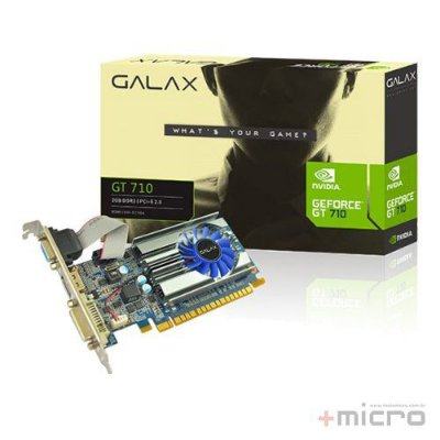 Placa de vídeo PCI-E Galax nVIDIA GT 710 2 Gb DDR3 64 Bits