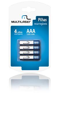 Pack c/ 4 Pilhas AAA Recarregáveis 1000 mAh Multilaser - CB050