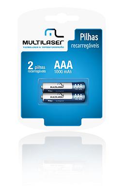 Pilha Recarregável AAA 1000 mAh, Pack com 2 Multilaser - CB051