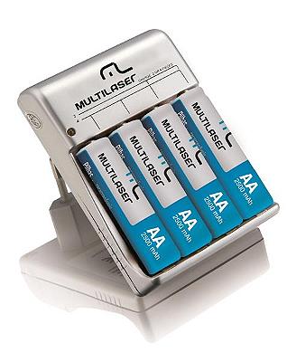 Carregador de Pilhas c/ 4 Pilhas AA RM02 Multilaser - CB054