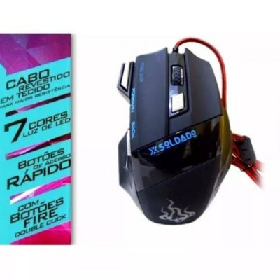 Mouse Gamer Double Click USB 3000dpi 6 Botões