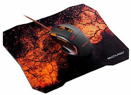 Combo Mouse Gamer E Mouse Pad Multilaser Laranja – MO256