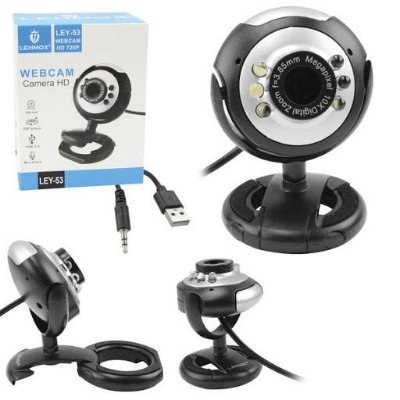 Webcam - 720P USB 2.0 Com 6 Leds e Microfone LEY-53 LEHMOX
