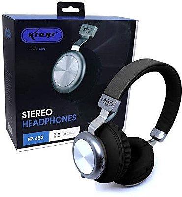 Fone Ouvido Sem Fio Bluetooth Fm Micro SD Microfone P2 - Kp-452