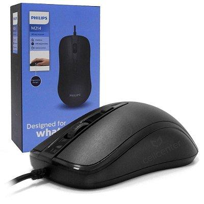 Mouse Óptico Com Fio Ergonômico 4 Botões Usb Philips M214